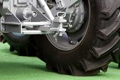 image of towing  - Close up of new tractor hitch with tow bar rear view - JPG