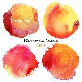 stock photo of circle shaped  - Watercolor Red and Yellow Vector Colorful Circles Set - JPG