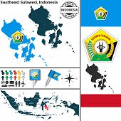 stock photo of southeast  - Vector map of region Southeast Sulawesi with coat of arms and location on Indonesian map - JPG