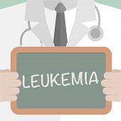 image of leukemia  - minimalistic illustration of a doctor holding a blackboard with Leukemia text - JPG