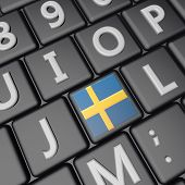 stock photo of sweden flag  - Sweden flag over computer keyboard 3d render square image - JPG