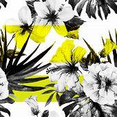 foto of hibiscus  - Beautiful vector pattern with nice watercolor hibiscus - JPG