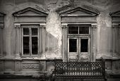picture of dirty  - old dirty windows on old dirty wall - JPG