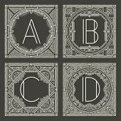 stock photo of initials  - Set of vector floral and geometric monogram logos with capital letter on dark gray background - JPG