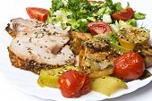 stock photo of roasted pork  - Roasted pork roulade with potatoes - JPG