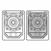 stock photo of subwoofer  - vector professional tour array subwoofer loudspeakers dark contour illustration white background - JPG