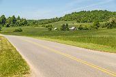 image of blue ridge mountains  - Virginia farmland along highway heading into Appalachian Mountains and Blue Ridge Parkway - JPG