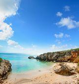 foto of shoreline  - a cloudy sky over Alghero shoreline Sardinia - JPG