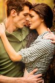 pic of kiss  - Kiss of beautiful couple in the natural environment - JPG