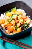 pic of curry chicken  - Thai coconut and mango curry with diced chicken and sliced carrots over coconut rice