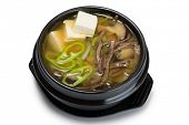 stock photo of korean  - Mushroom soup with vegetables - JPG