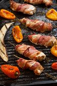 foto of grill  - Grilled bacon - JPG