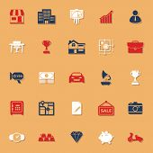 picture of asset  - Asset and property classic color icons with shadow stock vector - JPG