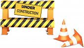stock photo of safety barrier  - Illustration of Under construction barrier over white background - JPG