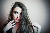 stock photo of emo  - Portrait young beautiful and pretty - JPG