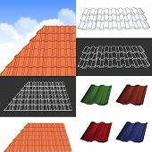 stock photo of red roof  - Red corrugated tile element of roof - JPG