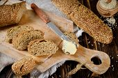 image of sesame seed  - Bread with sesame seeds - JPG