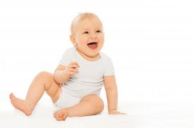 picture of babygro  - Portrait of happy laughing baby wearing white bodysuit on the white background - JPG