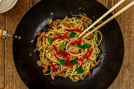 stock photo of noodles  - Chinese traditional food noodles with chicken meat and vegetables - JPG
