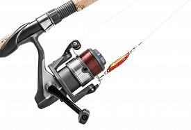 picture of rod  - Fishing rod and lure isolated on white - JPG