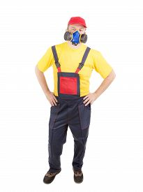 pic of respirator  - Worker in hat with respirator - JPG