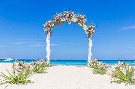stock photo of cabana  - beach wedding venue - JPG