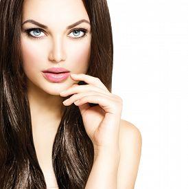 picture of dark-skin  - Beauty Model girl with Healthy Brown Hair - JPG