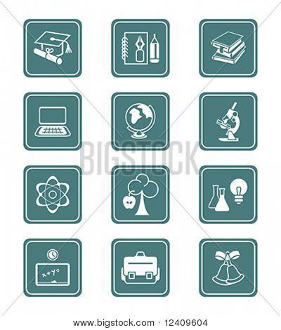 Постер, плакат: Школа и Колледж образования объекты инструменты и символы науки Векторный Икона set , холст на подрамнике