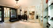 panoramic image of luxury boutique interior