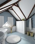 Modern home interior. 3D render. Bathroom. Exclusive design.