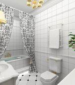Modern design interior of bathroom. 3D render
