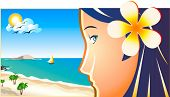 Young beach girl profile