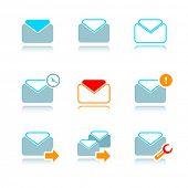 icono de Vector set por correo electrónico al buzón de correo de internet