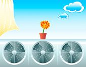 Concept illustration for fresh life with air conditioners