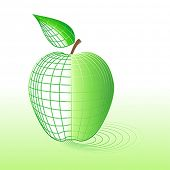 Cyber apple with wireframe. All is editable, it isn't mesh.