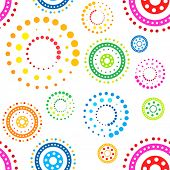 Colorful seamless circles pattern on white background