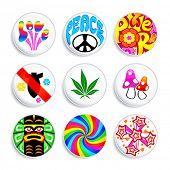 Set of artistic badges with 60x spirit inside. Make love, not war.
