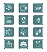 Постер, плакат: Школа и Колледж образования объекты инструменты и символы науки Векторный Икона set
