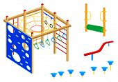 Playground equipment, 4 (Fitness): Pad walks, Log roll, Curved balance beam, Climbing wall, Rings, C