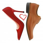 Photo-real vector pump and oxford shoes with the heart between