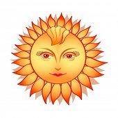 Mujer de hermoso sol en estilo de folclore ruso