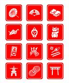 Traditional japanese culture objects vector icon set in red