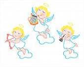 Funny cartoon angels with harp, arrow and trumpet isolated over heaven sky