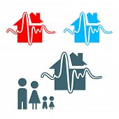Earthquake insurance icon with family isolated