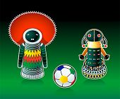 Traditional south african sangoma and ndebele dolls and soccer ball