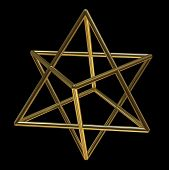 image of tetrahedron  - Merkaba symbol made of gold isolated on black background - JPG