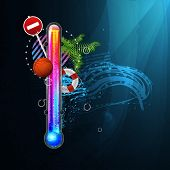 thermometer icon of hot and cold indicator. EPS10, and transparency. Season, winter summer. Arial text in the curves.