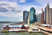 view of South Street Seaport and Pier 17 in Lower Manhattan