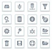 Server Vector Web Icons, White Square Buttons