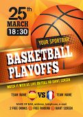 Basketball Poster with Basketball Ball. Basketball Playoff Advertising. Sport Event Announcement. Pl poster